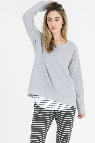 Plus Size || 3rd Story The Label Newhaven Sweater -  Grey Marle