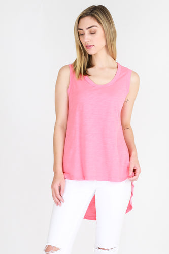 Longer Length Ladies Tank Madison Tank Hot Pink 3rd Story the Ladies Madison Tank - Basic State