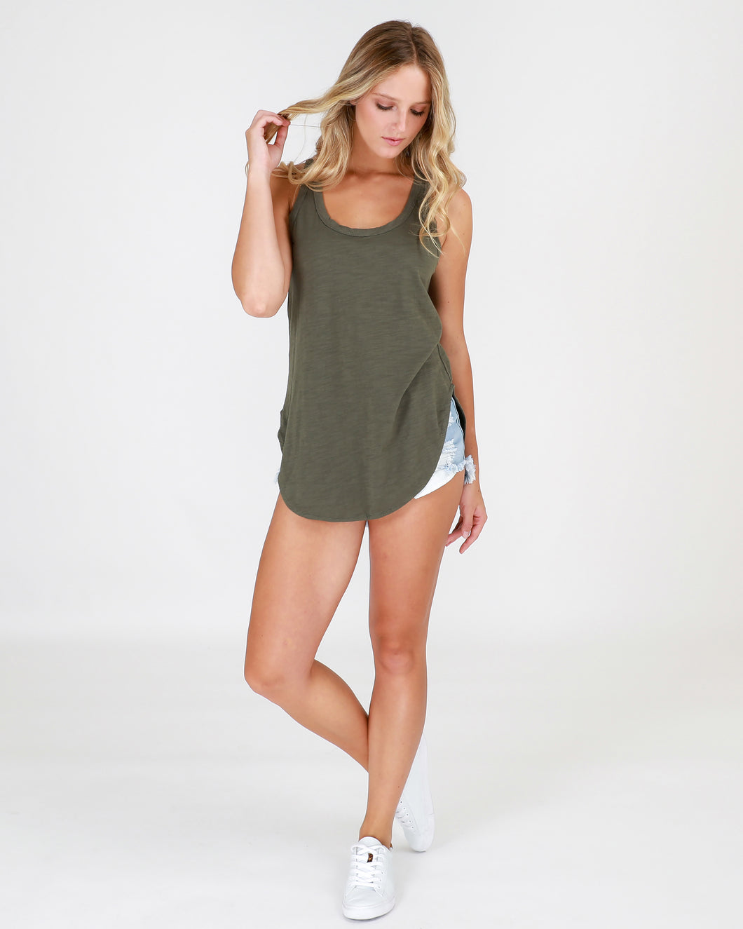 Plus Size || 3rd Story The Label Hamilton Tank - Khaki