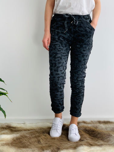 Amici Leopard Print Pull up Joggers - Basic State Amici made in Italy Stockist