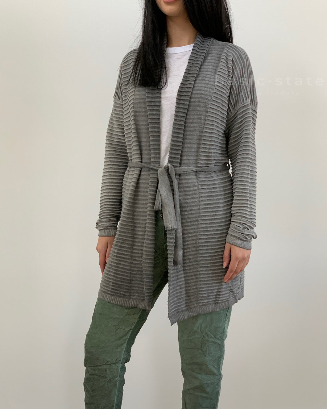 Amici made in Italy || Open Washed Cardigan - Smoke