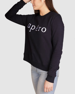 AFI041.490 Apero Jumper Navy Apero Embroidered Jumper Navy Apero Jumper Apero Australia Basic State