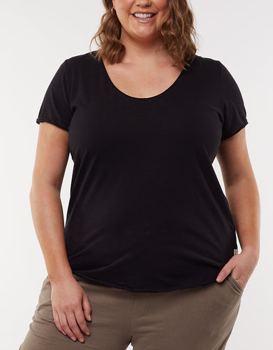 Plus Size Vee Neck Tee Plus Size Fundamental Vee Tee Plus Size Elm Vee Tee Black Fundamental Vee Tshirt Elm Stockist Elm Online Stockist Elm Embrace Plus Size V Neck Tee Washed Black - Elm Plus Size V Neck Tee Black - Basic State Australia