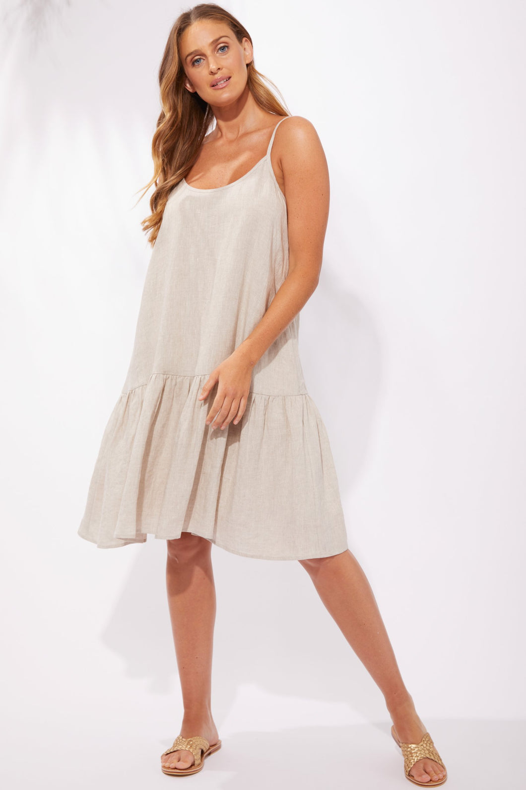 Haven Clothing Majorca String Dress Sand Basic State Australian Stockist Majorca String Dress Sand Tan Midi Dress Haven