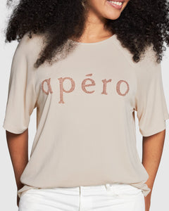 Apéro Oversized Tee || Pink/Beige w Rose Gold Beading
