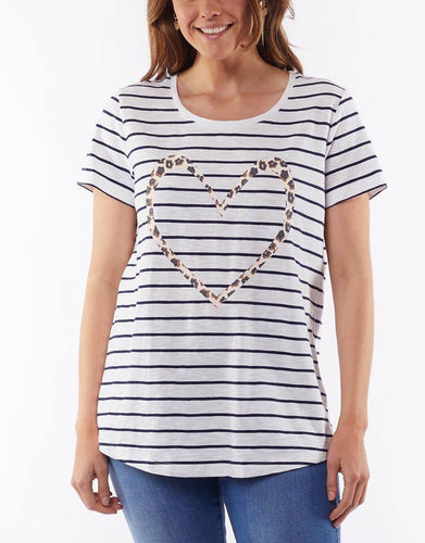 Elm Clothing Full Circle Tee Elm Fundamental Tee Leopard Print Stripe Tee  Leopard Heart Tshirt Basic State Stripe Elm Tee