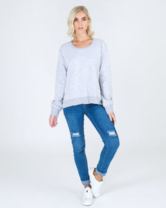 Basic State 3rd Story Ulverstone Sweater in Grey Marle Basic State 3rd Story Stockist - Basic State 3rd Story Ulverstone Jumper Ulverstone Sweater - Light Grey MArle