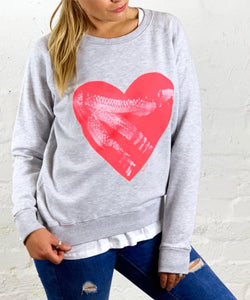 Basic State Heart Jumper My Izzi Heart Sweater Cotton Jumper