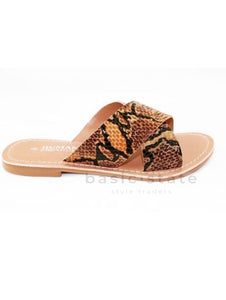 Animal Print Shoes, Snake Leather Slides, Cross Over Slides - Quinn Leather slides - Basic State Australia