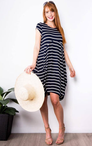 Brodie Tulip Dress || Navy & White Stripe