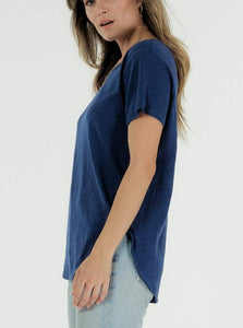 Cle Charlotte Indigo Blue  Tshirt Cle Organic Cotton Charlotte Tee Cle Organic Label Stockist Cle Pure Cotton Organic Cotton Stockist Basic State Australia Charlotte Tee Cle Organic Clothing Cle Clothing Australian Stockist Cle Clothing Stockist Cle Clothing Cle Charlotte Tshirt Basic State Stockist