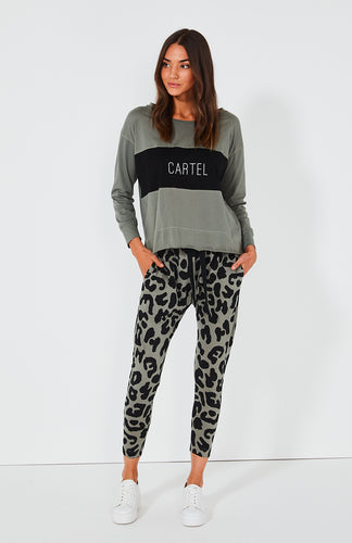 Cartel & Willow Leopard Pants Cartel Block Top Basic State