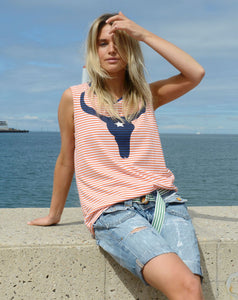 Hammill and Co Skull Tank with Orange and White Stripe Tank - Basic State Australia