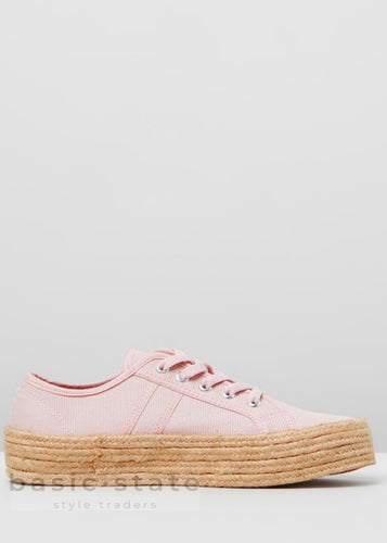 Buy Charlotte Pink jute wrapped sole shoes - Rope Sole Shoes Rope Canvas Shoes - Rope espadrille shoes - Canvas thick Sole Rope Sole Shoes - Basic State Australia