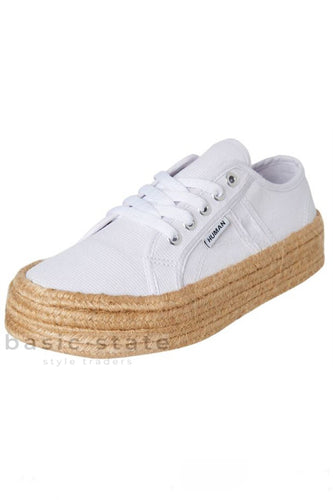 Buy Whtie jute wrapped sole shoes - Rope Sole Shoes Rope Canvas Shoes - Rope espadrille shoes - Canvas thick Sole Rope Sole Shoes - Basic State Australia