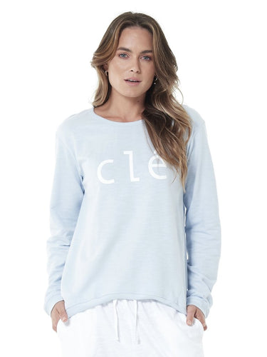 Cle Organic clothing - Ice Blue Logo Jumper - Basic State Cle Stockist