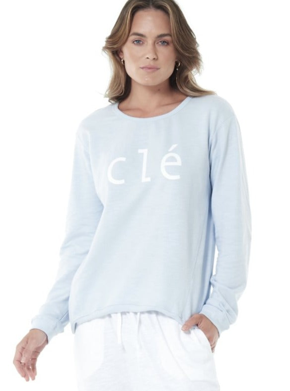 ICE BLUE CLE LOGO SWEATER Cle Organic Basics Logo Jumper Cle clothing stockist CLE ORGANIC CLOTHING STOCKIST