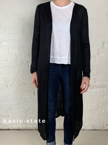Long Black Cardi Long Black Cardigan Coco Long Line Cardigan Basic State