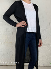 Long Black Cardigan, Long Cardigan, Lightweight Cardi, Coco Longline Black Cardigan Black Travelling Cardigan