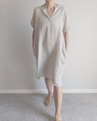 Flowy Linen Dress Casual Linen Dress Vonny Linen Dress Costa Vita Purolina Stockist Basic State Australia