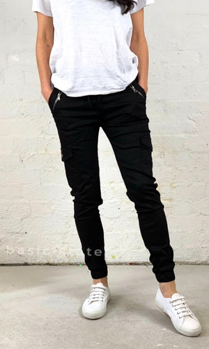 Joey Joggers Black Pants Casual Elastic Waist Pants Plus Size Ladies Clothing Denim Lounge Pants - Basic State