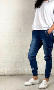 Joey Joggers Mid-wash Denim Pants Casual Elastic Waist Pants Plus Size Ladies Clothing Denim Lounge Pants - Basic State