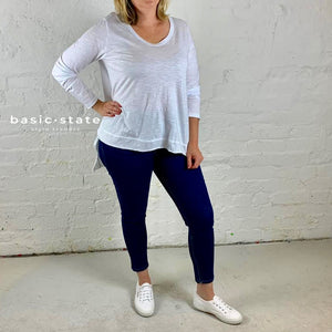 Basic State Curve Plus Size Willow Long Sleeve Tshirt White Plus Size Top Basic State Curve