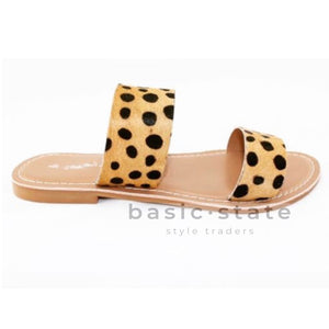 Dakota leather leopard Print Slides - Basic State Shoes - Double Strap Slides