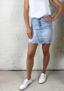 Dolly Denim Skirt || Light Blue