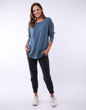 Plus Size || Elm Clothing Fundamental Rib Long Sleeve Tee - Steel Blue