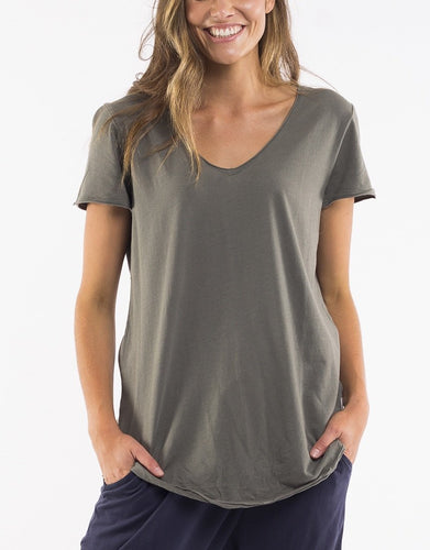 Plus Size || Elm Fundamental V Neck Tee - Khaki