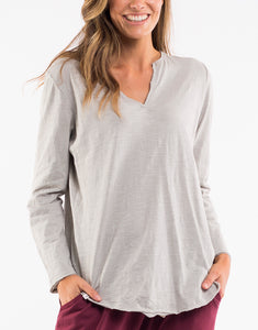 Elm Coles Bay Henley Long Sleeve Top - Grey - Basic State