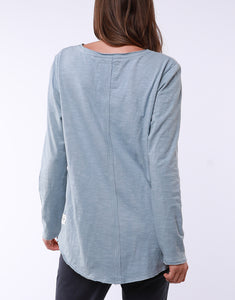 Elm Clothing || Coles Bay Long Sleeve Henley Tee - Blue Mist