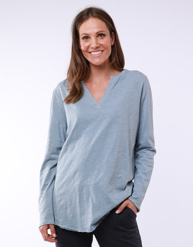 Blue Mist Elm Coles Bay Henley Long Sleeve Tee - Basic State -