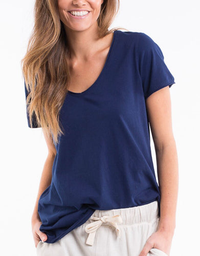 Elm Plus Size Clothing V Neck Tee Elm Navy Tee Plus Size Basic State Australian Elm Stockist