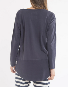 Plus Size || Elm Fundamental Rib Long Sleeve Tee - Navy