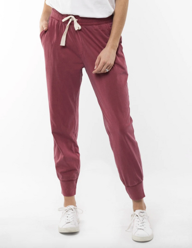 Elm Washout Lounge Pants Berry Red - Basic State Elm Wash Out Lounge Pants Washout Pants - Berry Red