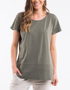 Shop Elm Fundamental Ladies clothing - Elm Clothing Short Sleeve Rib Tshirt - Khaki -Basic State Australia