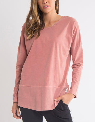 Elm Fundamental Long Sleeve Rib Tee - Dusty Pink - Basic State