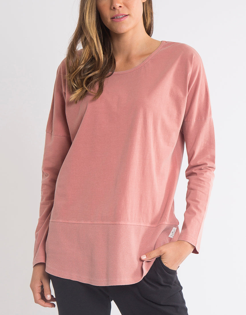 Curve. || Elm Fundamental Rib Long Sleeve Tee - Pink