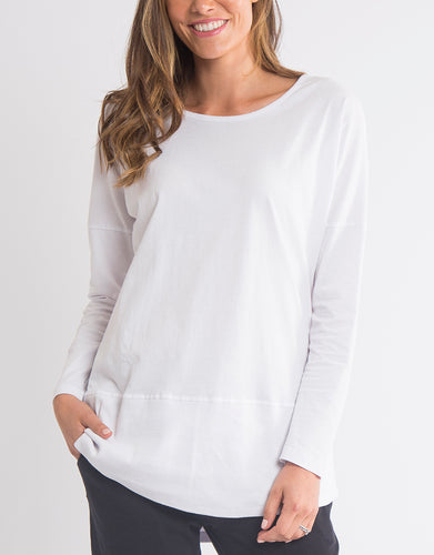 Shop Elm Fundamentals Long Sleeve Rib Tee in White - Elm Plus Size Long Sleeve Rib Tee - - Basic State Australia