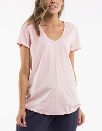 Elm Fundamentals V Neck Tshirt - Elm lifestyle clothing v neck tee pink - Basic State