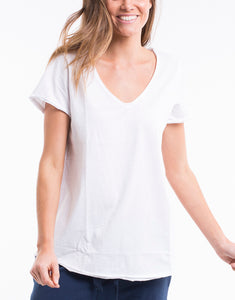 Shop Elm Fundamental V Neck Tee in White - Elm Lifestyle Clothing - Basic State Australia