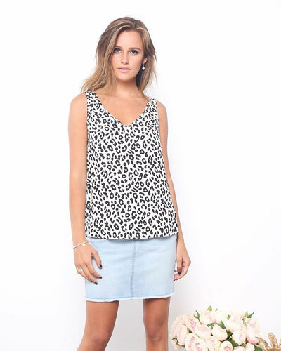 Emily Black and white leopard print Tank Leopard Print Basic State