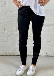 Francine Coated Jeans - Black Faux Leather Pants - Pleather Pants - Basic State Australia
