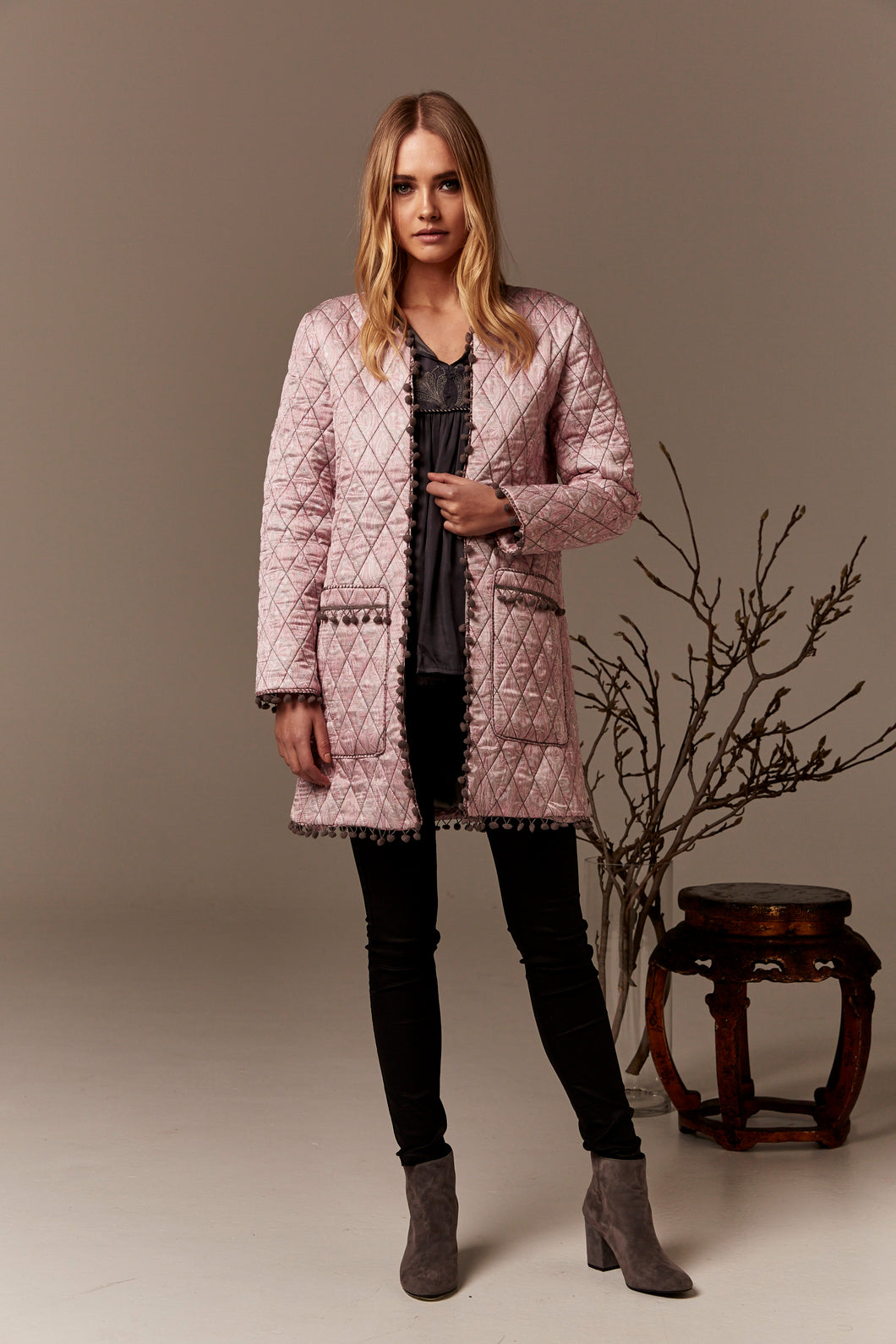 Gysette quilted jacket boho pink blush Basic State