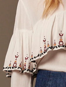 Gysette hana Top embroidered Blouse Boho frills Basic State