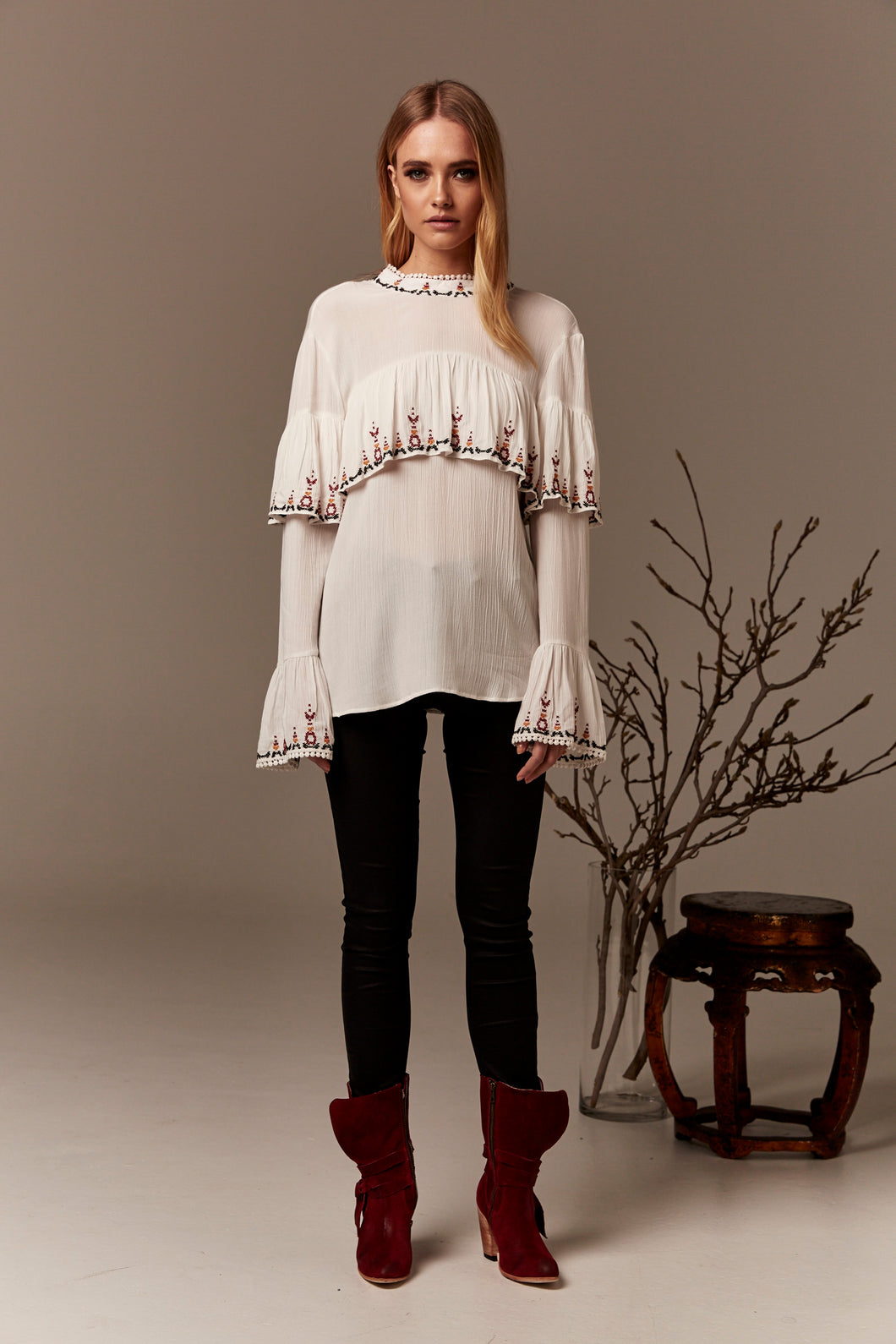 Gysette Hana Top is beautifully embroidered with a soft frill over the chest and sleeve Cuff Basic State Boho Top Blouse