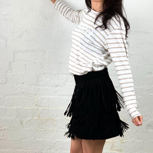 Gysette Fringe Leather Skirt Sale Item Basic State Ladies leather mini Skirt