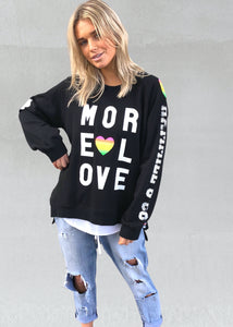 HAMMILL AND CO SUPER HIGH LOW SWEATER - MORE LOVE BLACK SWEATER - BASIC STATE HAMMILL AND CO STOCKIST - MORE LOVE JUMPER MORE LOVE SWEATER HAMMILL AND CO MORE LOVE BLACK JUMPER
